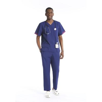 男士磨砂制服质量 |短袖 V 领纯色磨砂制服 |批发磨砂制服