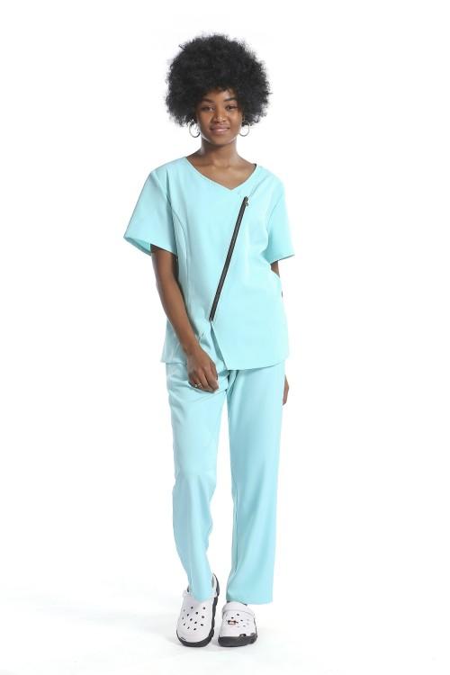 女式护理制服磨砂套装|纯色短袖拉链磨砂护士制服修身|批发磨砂制服
