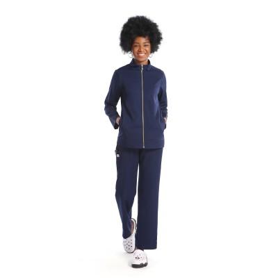 女士磨砂套装海军蓝 |拉链前热身护士磨砂夹克和弹力裤 |批发优质磨砂制服供应商