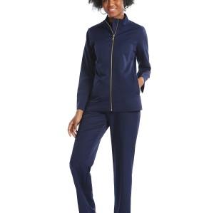 Women's Scrub Sets Navy Blue | Zip Front Warm-up Nurse Scrub Jacket&Stretch Pants | Wholesale Quality Scrub Uniforms Vendors