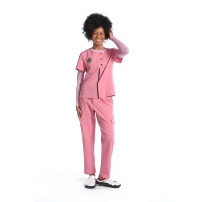 女式刺绣磨砂制服|透气磨砂上衣和慢跑裤 |医用磨砂制服制造商