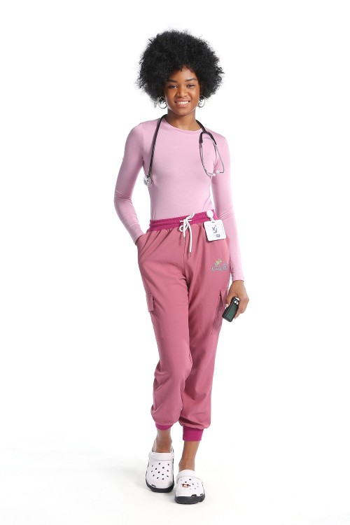 Scrub Uniforms With Embroidery For Women   Breathable Scrub Tops&Jogger Pants   Medical Scrub Uniform Manufacturer