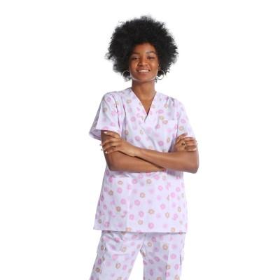 女士印花磨砂套装|优质印刷医用磨砂上衣和裤子弹力 |医用磨砂批发