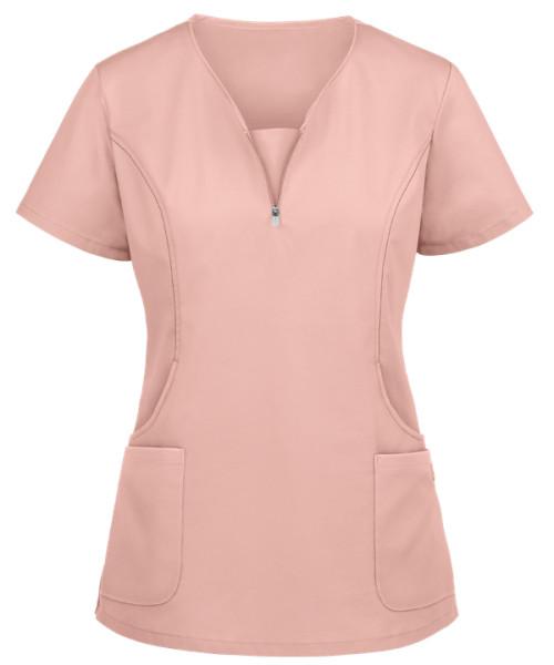 Scrub Tops For Women   Solid Stylish 4 Pockets Curved-neck Zipper Scrub Tops   Wholesale Medical Scrub Tops