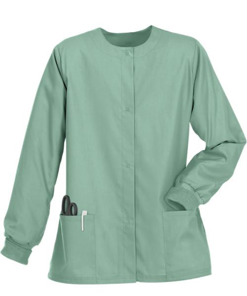 Scrub Jackets For Women   Stretch 2-Pocket Warm-Up Button Scrub Jackets Hospital   Custom Scrub Jackets With Logo