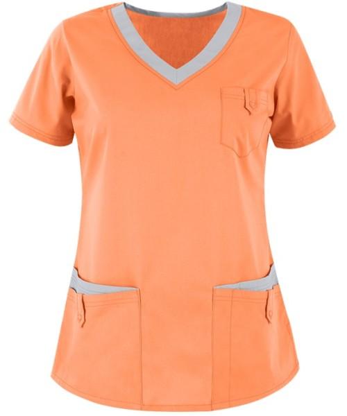 Women's Scrub Tops Elastic | 5-Pocket V-Neck Scrub Tops Plus Size | Manufacturer of Scrub Tops Quality Wholesale