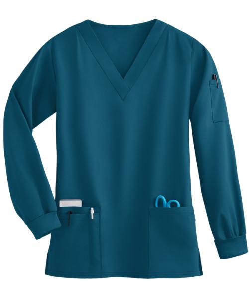 Unisex Scrub Tops Elastic   4-Way Stretch 5-Pocket Long Sleeve Scrub Tops   Wholesale Quality Scrub Tops Affordable