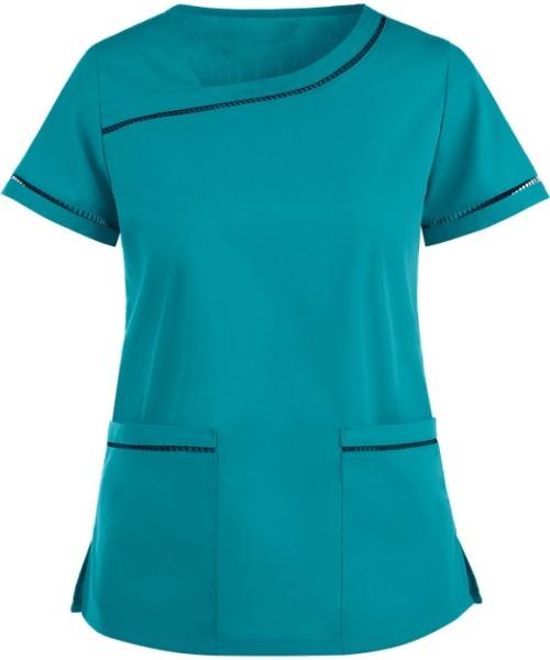Cotton Scrub Tops For Women | 2-Pocket Short Sleeve Ladder Lace Scrub Tops Stretch | Wholesale Scrub Uniforms Manufacturer