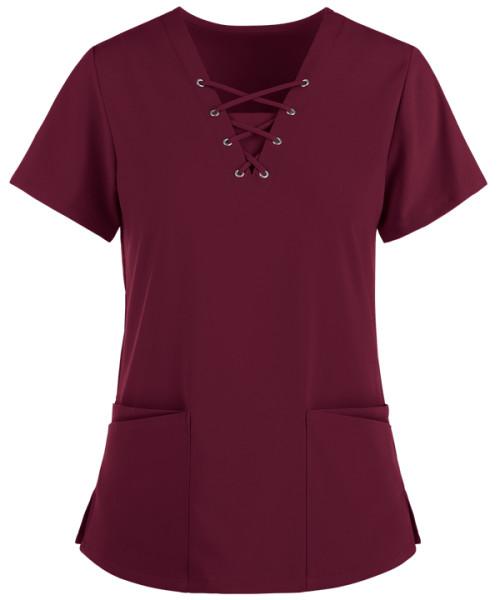 Women's Scrub Tops Cotton | 4-Way Stretch 4-Pocket Lace Up V-Neck Scrub Tops | Stylish Medical Scrub Tops Wholesale