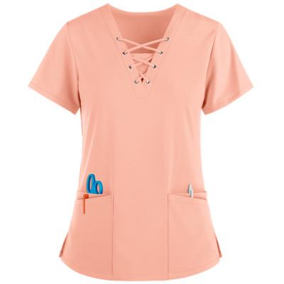Women's Scrub Tops Cotton   4-Way Stretch 4-Pocket Lace Up V-Neck Scrub Tops   Stylish Medical Scrub Tops Wholesale