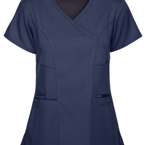 Women's Scrub Tops With Pockets | Stylish 3-Pocket Mock Wrap Scrub Tops Stretch | Medical Scrub Tops Wholesale Affordable