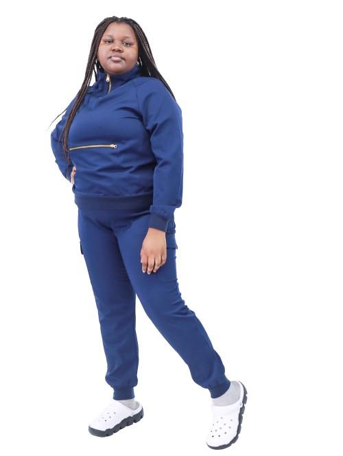 女士磨砂套装加大码  弹力长袖拉链高领磨砂上衣和慢跑裤弹力  大码定制磨砂膏