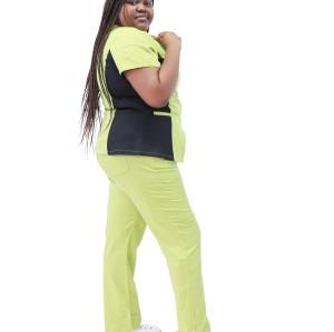 Women's Scrub Uniforms Plus Size | Color Block Short Sleeve Front Zipper Scrub Tops And Pants | Wholesale Scrub Uniforms Vendor