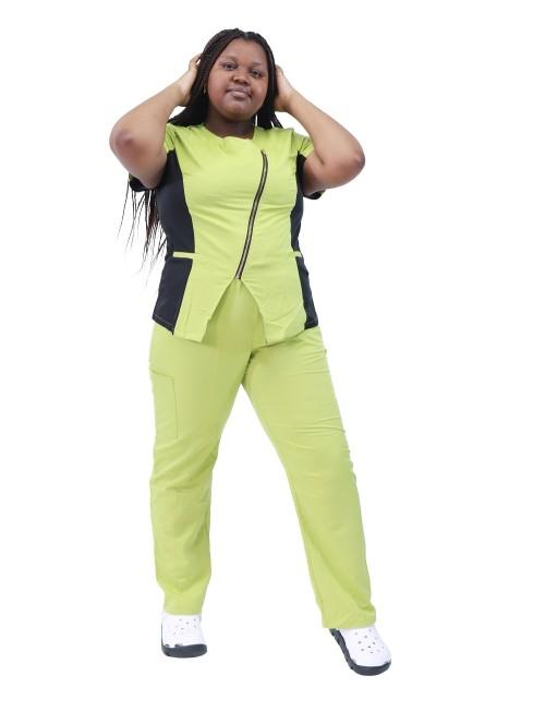 女式磨砂制服加大码 |拼色短袖前拉链磨砂上衣和裤子|批发磨砂制服供应商