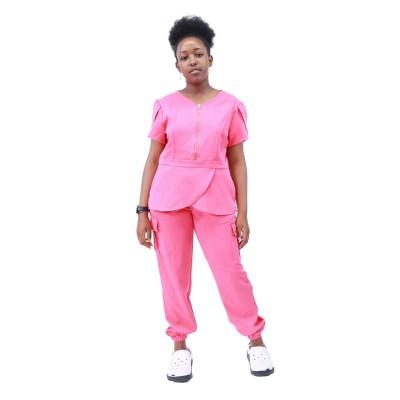 女性医院磨砂套装|拉链弹力修身磨砂制服慢跑裤|优质磨砂制服批发