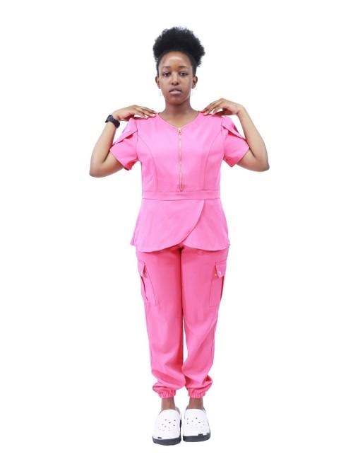 Hospital Scrub Sets For Women | Zipper Stretch Slim Fit Scrub Uniforms Jogger Pants | Quality Scrub Uniforms Wholesale