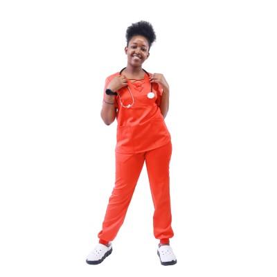 妇女医院磨砂套装| 9 口袋系带 V 领磨砂上衣和慢跑裤 |批发磨砂制服供应商