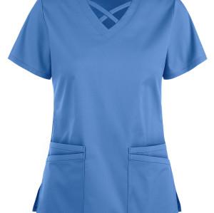 Scrub Tops For Women |  4-Pocket Short Sleeve 4 way Stretch Crisscross Scrub Tops | Scrub Sets Wholesale