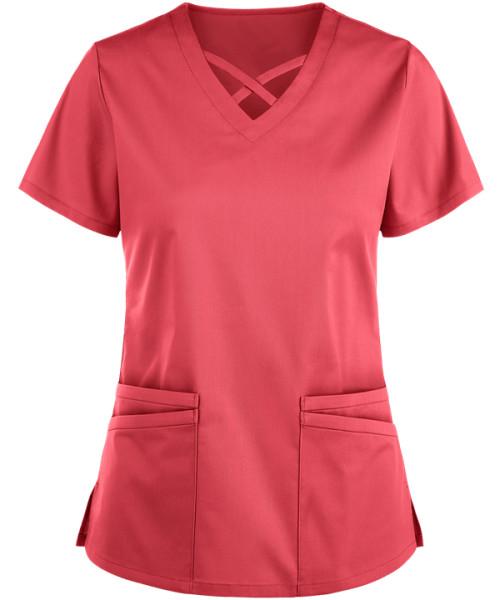 Scrub Tops For Women    4-Pocket Short Sleeve 4 way Stretch Crisscross Scrub Tops   Scrub Sets Wholesale