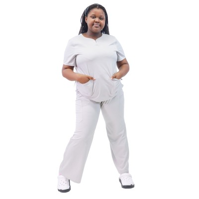 大码女士磨砂套装 |短袖 4 向弹力磨砂护士制服 |定制医疗制服价格实惠
