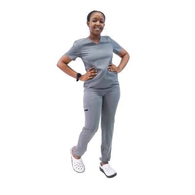 护士磨砂制服| V 领短袖弹力磨砂上衣和慢跑裤 |优质磨砂制服批发