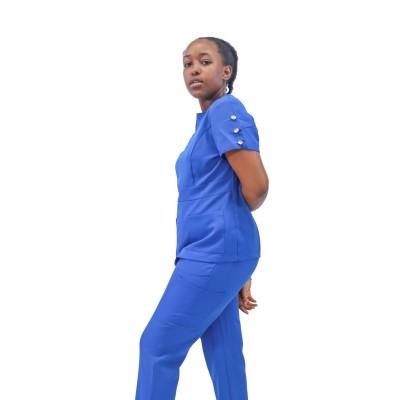 女式医疗制服批发|护士用短袖 4 向弹力磨砂制服 |定制医疗磨砂膏