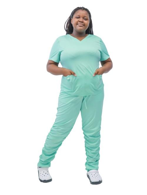 Women's Plus Size Scrub Set | Short Sleeve Scrub Uniforms Stacked Jogger Ruffle Pants Set | Custom Plus Size Affordable Scrubs