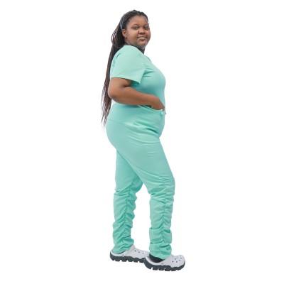 女士大码磨砂套装|短袖磨砂制服叠层慢跑荷叶边裤套装 |定制大号经济实惠的磨砂膏