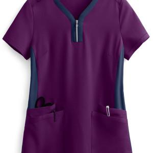 Stylish Scrub Tops Ladies | 4-Pocket Zip Neck Henley Scrub Tops Cotton | Custom Logo Scrub Tops Affordable