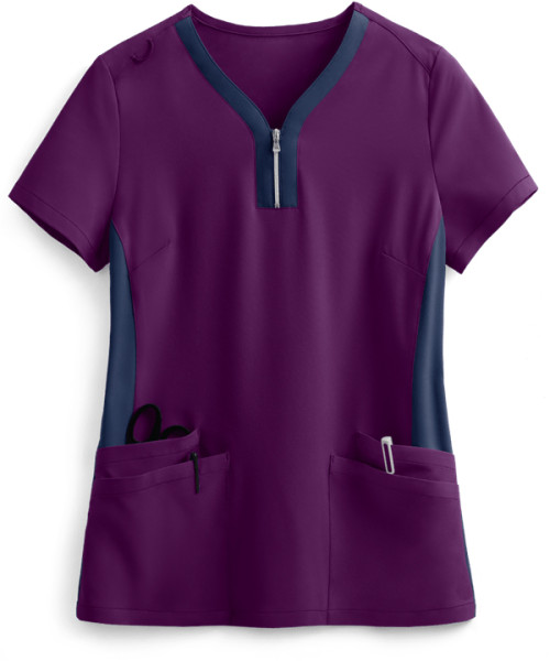 Stylish Scrub Tops Ladies   4-Pocket Zip Neck Henley Scrub Tops Cotton   Custom Logo Scrub Tops Affordable
