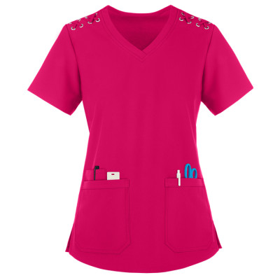 Women's Scrub Tops Elastic | 3-Pocket Lace Up Grommet Scrub Tops Cotton | Quality Scrub Tops In Bulk Affordable