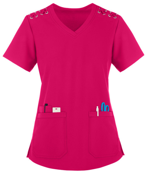 Women's Scrub Tops Elastic   3-Pocket Lace Up Grommet Scrub Tops Cotton   Quality Scrub Tops In Bulk Affordable