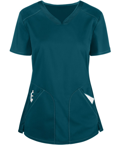 Scrub Tops Womens | Solid Color 2-Pocket Shaped Stretch Mesh Scrub Tops | Custom Scrub Tops In Bulk