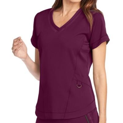 Women's Scrub Tops With Pockets   3-Pocket V-Neck Scrub Tops Stretch   Wholesale Medical Scrub Tops