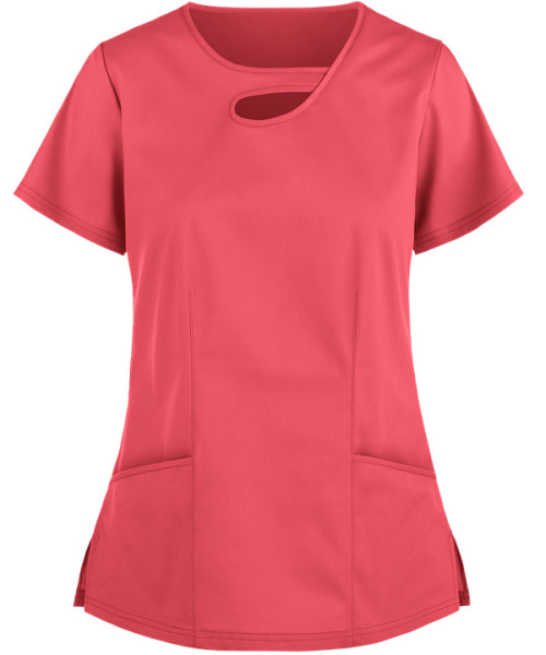 Women's Scrub Tops Elastic   2-Pocket Asymmetric Keyhole Cotton 4 Way Stretch Scrub Tops   Customizable Scrub Tops Affordable