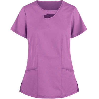 Women's Scrub Tops Elastic | 2-Pocket Asymmetric Keyhole Cotton 4 Way Stretch Scrub Tops | Customizable Scrub Tops Affordable