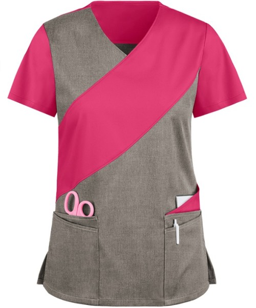 Cotton Scrub Tops For Women   5-Pocket Asymmetric 4 Way Stretch Scrub Tops   Wholesale Medical Scrub Tops Affordable