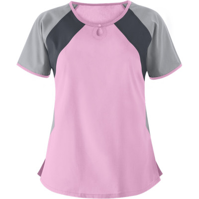 Women's Scrub Tops In Bulk | Color Block 2-Pocket Keyhole Scrub Tops Cotton | Wholesale Scrub Tops Nursing Quality