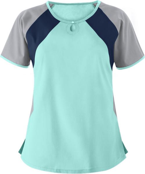 Women's Scrub Tops In Bulk   Color Block 2-Pocket Keyhole Scrub Tops Cotton   Wholesale Scrub Tops Nursing Quality