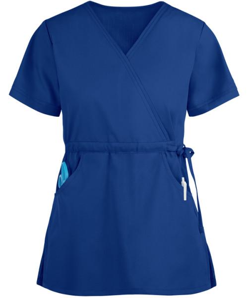 Scrub Tops Ladies | Women's Stretchy 2-Pocket Solid Mock Wrap With Side Tie Scrub Tops | Quality&Fashion Scrub Tops In Bulk