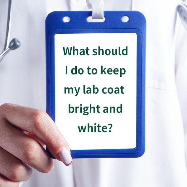 What should I do to keep my lab coat bright and white?