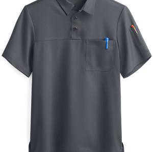 Stretch Scrub Tops For Men | 2-Pocket Short Sleeve Polo 4 Way Stretch Scrub Tops | Custom Breathable Scrub Tops Cotton