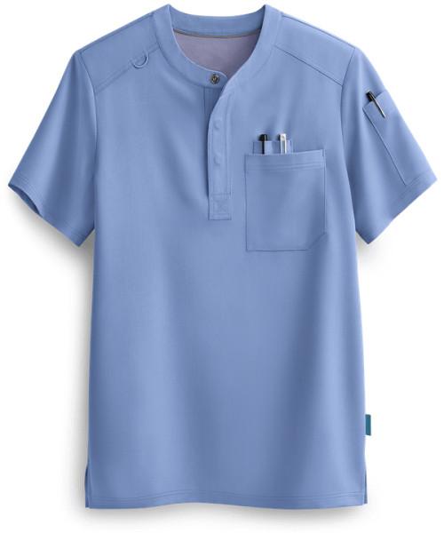 Men's Henley Scrub Tops   3-Pocket Short Sleeve Henley Scrub Tops   Wholesale Quality Scrub Tops Online