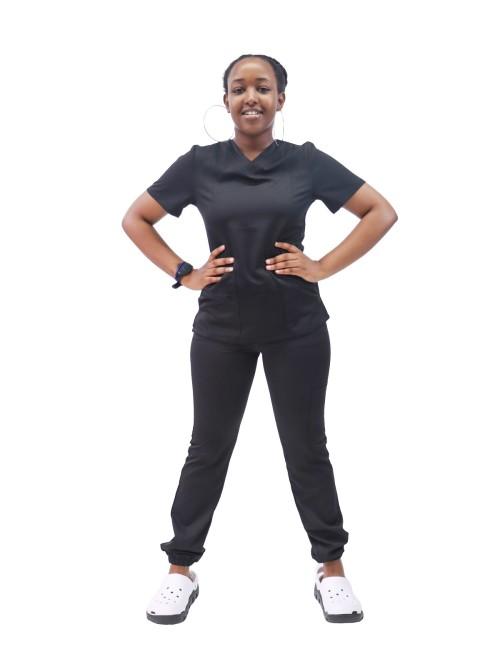 女士磨砂套装价格实惠 | V 领短袖医院磨砂套装修身上衣和慢跑裤 |磨砂套装批发