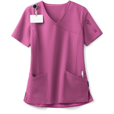 Women's Stylish Scrub Tops Stretch | 5-Pocket Faux Wrap Scrub Tops Nursing | Medical Scrub Tops Wholesale
