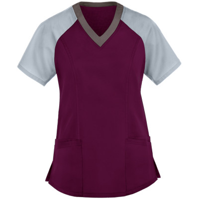 Ladies Scrub Tops Elastic | Women's 5-Pocket Color Block Short Sleeve Scrub Tops | Medical Scrub Tops Wholesale