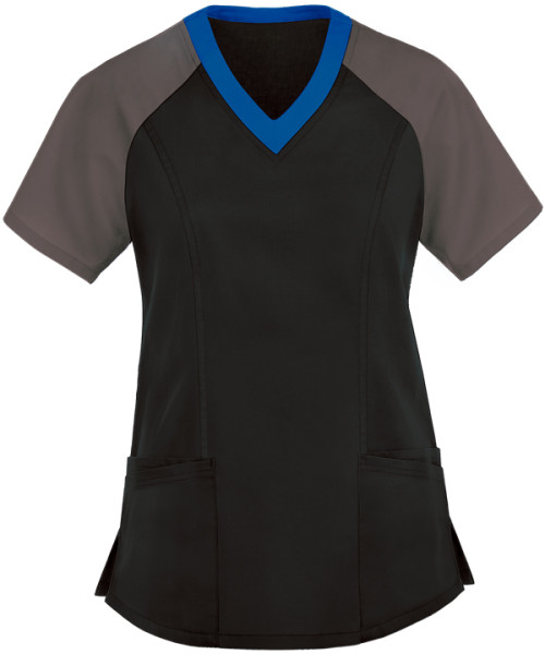 Ladies Scrub Tops Elastic   Women's 5-Pocket Color Block Short Sleeve Scrub Tops   Medical Scrub Tops Wholesale