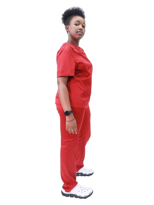 女式磨砂制服  4 向弹力时尚短袖磨砂制服  中国磨砂制造商