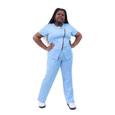 女式磨砂医院制服 |弹性短袖拉链磨砂上衣和裤子 |磨砂制服制造商
