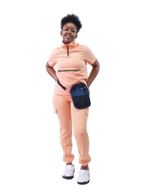 女士紧身磨砂上衣  短袖拉链高领磨砂上衣和慢跑裤  批发医用磨砂上衣